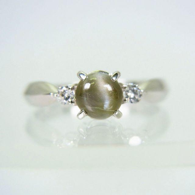 PT900 クリソベリルキャッツアイ ダイヤモンド リング 8号 レディースのアクセサリー(リング(指輪))の商品写真