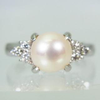 【中古】Pt900 天然アコヤ真珠ダイヤモンド リング 9号f15-10(リング(指輪))