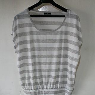 ジーユー(GU)のレディス 半袖 tシャツ ゆったり LL ボーダー ホワイト グレー(Tシャツ(半袖/袖なし))