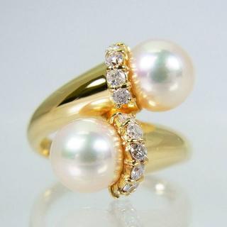 K18 天然アコヤ真珠(パール)ダイヤモンド リング 11号[f14-16](リング(指輪))