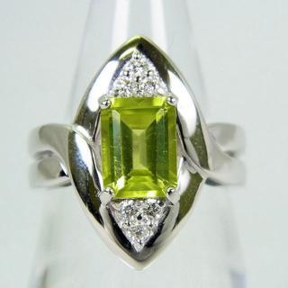 K18WG ペリドット ダイヤモンド リング 11号[f14-17](リング(指輪))