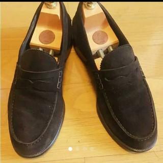 クロケットアンドジョーンズ(Crockett&Jones)の限定価格!大塚製靴 コインローファー スエードダークブラウン41ハーフ(ドレス/ビジネス)