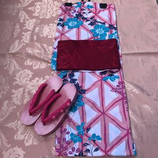 🎀  新品 未使用🎀  浴衣 可愛いピンクとクレマチス(浴衣)
