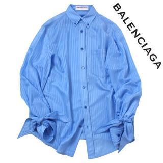 バレンシアガ(Balenciaga)の17年物 BALENCIAGA シルク混 スリーブリボン BDストライプシャツ(シャツ/ブラウス(長袖/七分))
