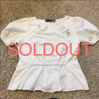 エムズグレイシー(M'S GRACY)の最終SALE最終価格!エムズグレイシー38サイズ半袖ブラウス コサージュ付き(シャツ/ブラウス(半袖/袖なし))