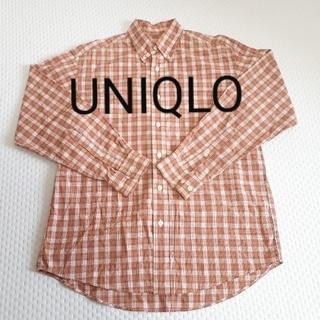 ユニクロ(UNIQLO)のUNIQLO ユニクロ メンズ チェックシャツ オレンジ(シャツ)