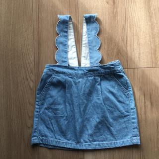 プティマイン(petit main)のプティマイン  スカラップ デニムスカート ジャンパースカート(スカート)