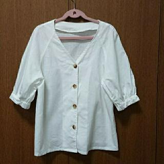 ジーユー(GU)のゆう様専用GU リネンブレンドフロントボタンブラウス(5分袖)(シャツ/ブラウス(半袖/袖なし))