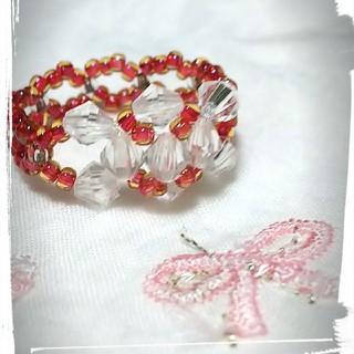 手作りビーズの指輪(赤クリスタル)(リング(指輪))
