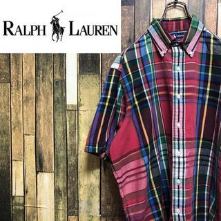 ラルフローレン(Ralph Lauren)の【激レア】ラルフローレン☆ワンポイント刺繍ロゴ半袖ビッグチェックシャツ 90s(シャツ)
