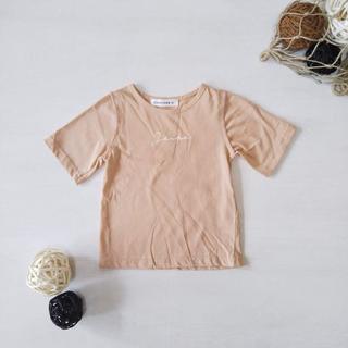 90㎝ ロゴシンプルTシャツ ベージュ(Tシャツ/カットソー)