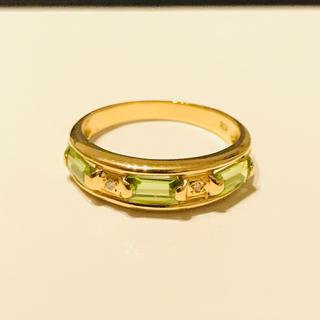 ペリドット ダイヤモンド K18 リング 指輪 15号(リング(指輪))