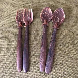 アジアン雑貨 スプーンとフォークセット(カトラリー/箸)