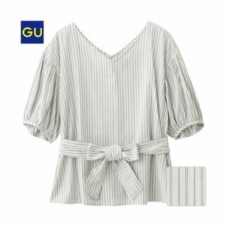 ジーユー(GU)のGU ウエストリボンブラウス ストライプ(シャツ/ブラウス(半袖/袖なし))