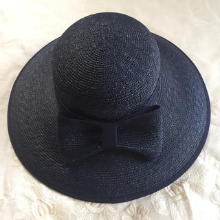 フォクシー(FOXEY)のPIN様専用マキシン 天然素材 紺色 帽子(麦わら帽子/ストローハット)