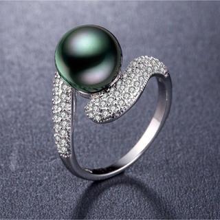 ブラックパール☆黒真珠様リング☆冠婚葬祭☆11号(リング(指輪))