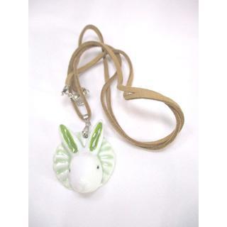 【新品】陶器製うさぎのペンダント(緑)【送料込み】【輸入雑貨】(その他)