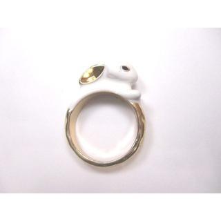 【新品】白うさぎの指輪【送料込】(リング(指輪))