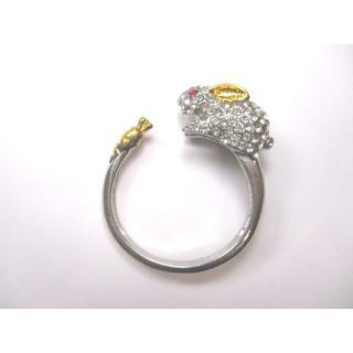 【新品】ラインストーン風デコうさぎの指輪 フリーサイズ(ゴールド)【送料込み】(リング(指輪))