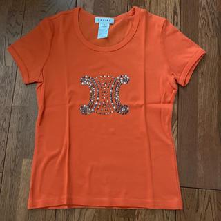 セリーヌ(celine)のセリーヌ 半袖Tシャツ 美品 オレンジ色にメタルっぽい装飾 サイズL(Tシャツ(半袖/袖なし))