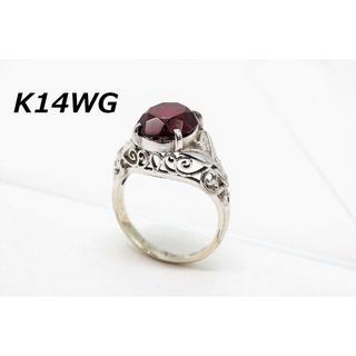 【BU-44】K14WG ホワイトゴールド ガーネット リング 8号相当 指輪(リング(指輪))