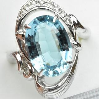 Pt900 ブルートパーズ 8.13ct ダイヤモンドリング 13号 指輪  (リング(指輪))