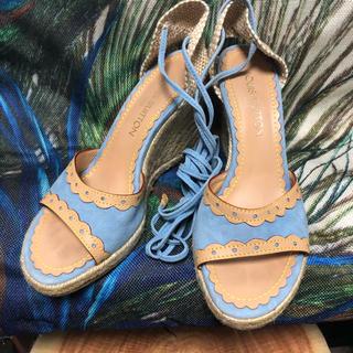 ルイヴィトン(LOUIS VUITTON)の美品  ルイヴィトン 編み上げ ジュード サンダル  24.5(サンダル)