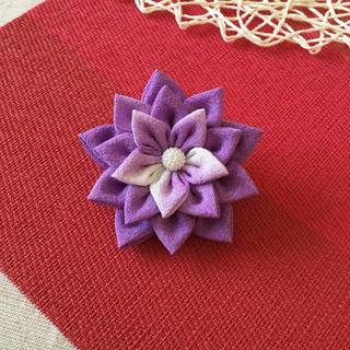 浴衣 つまみ細工 髪飾り 紫(ヘアアクセサリー)