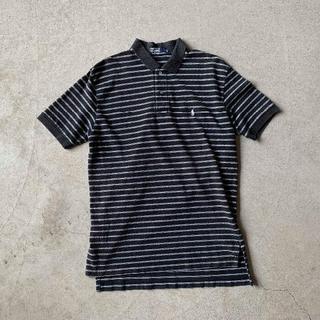 ポロラルフローレン(POLO RALPH LAUREN)のポロ ラルフローレン ブラック ボーダー ロゴ ポロシャツ 黒 L 古着(ポロシャツ)