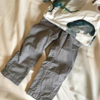エイチアンドエム(H&M)のH&M くすみ グレー 綿 パンツ(パンツ/スパッツ)