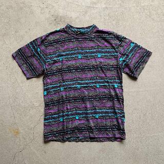 古着 モックネック 総柄 プリント Tシャツ M アウトドア ネイティブ(Tシャツ/カットソー(半袖/袖なし))
