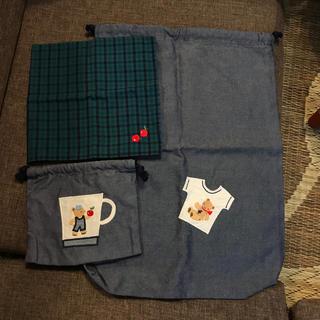 familiar - ファミリア デニム 巾着 ハンカチ セット