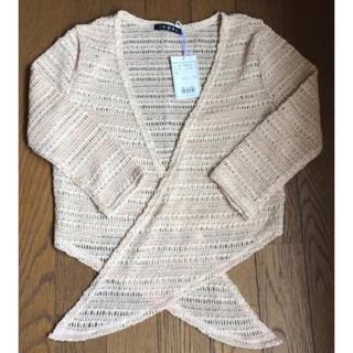 イング(INGNI)のイング 7分丈袖 編みボレロ 結びタイプ ピンク×アイボリー(ボレロ)