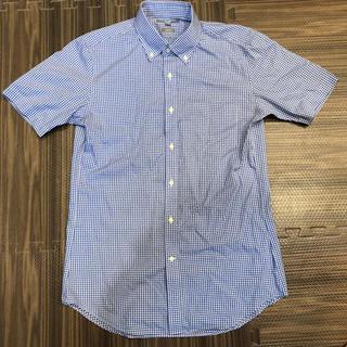 ユニクロ(UNIQLO)の半袖シャツ メンズ ユニクロ ギンガムチェック 青&白 ブルー ホワイト(シャツ)
