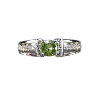石街8月誕生石宝石レベルペリドットリング銀925天然石指輪(リング(指輪))