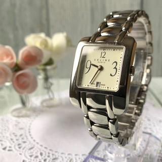 セリーヌ(celine)の【希少】CELINE セリーヌ 腕時計 スクエア デイト シルバー レディース(腕時計)