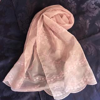 ロペ(ROPE)の♫ ROPE ♫ ピンク刺繍 ショール スカーフ(ストール/パシュミナ)