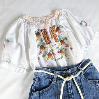グリモワール(Grimoire)のused レトロ 刺繍 トップス ヨーロッパ 古着 ヴィンテージ(Tシャツ(半袖/袖なし))