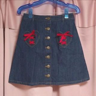 リズリサ(LIZ LISA)のLIZLISA ♡ ハートポケットデニムスカート(ミニスカート)