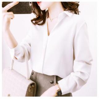 64ce44522a057 L 白 ホワイト ブラウス 長袖 シフォンブラウス 襟付き オフィス (シャツ/ブラウス(長袖