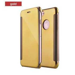 949f731ed6 スマホケース iPhone7 ゴールド 手帳型 マジックミラー ロゴホール 保護(iPhoneケース)