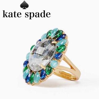 ケイトスペードニューヨーク(kate spade new york)のケイトスペード ★フラワー 花 リング 指輪 グリーン スワロフスキーゴージャス(リング(指輪))