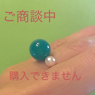 グリーンアゲート(瑪瑙) と アコヤ真珠のリング(リング(指輪))