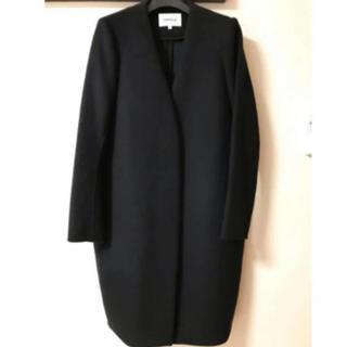 エンフォルド(ENFOLD)のENFOLD ウールリバーノーカラーコート ブラック×グリーン ☆サイズ38(ロングコート)
