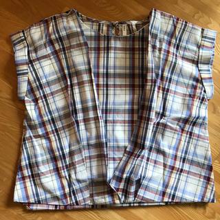 イッカ(ikka)のikka 1度のみ着用!チェック柄のゆったりブラウスLサイズ(シャツ/ブラウス(半袖/袖なし))