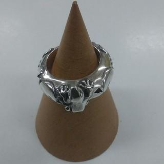 かすう工房 シルバーリング 3号 カエル 蛙モチーフ レア 指輪 かり 刻印(リング(指輪))