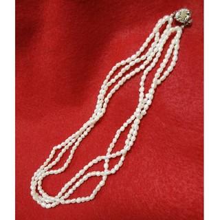 ミツコシ(三越)の小粒パール三連ネックレス 三越購入品(ネックレス)