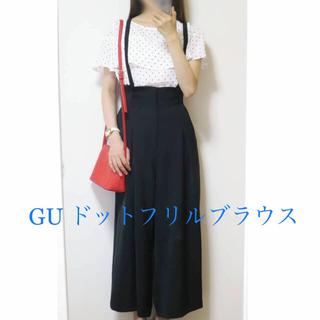 ジーユー(GU)の【新品 】GU ドットフリルブラウス(シャツ/ブラウス(半袖/袖なし))
