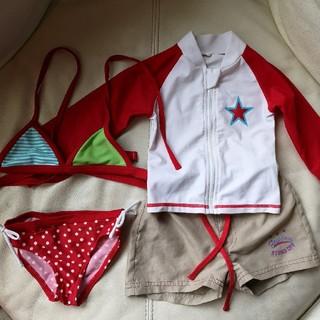 スキップランド(Skip Land)の女の子水着4点セット◼️ビキニ◼️長袖ラッシュガード◼️サーフパンツ◼️赤(水着)