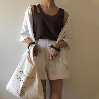 ジーユー(GU)のGU リネンブレンド オープンカラーシャツ (シャツ/ブラウス(半袖/袖なし))